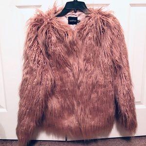 Boohoo Mongolian Faux Fur Coat- Dusty Pink